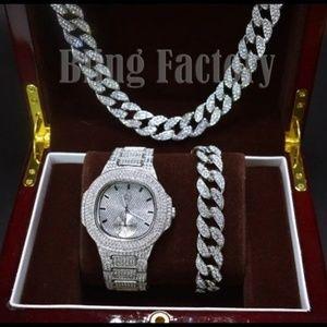 Other - Lab Diamond WATCH & Cuban Bracelet & Necklace set